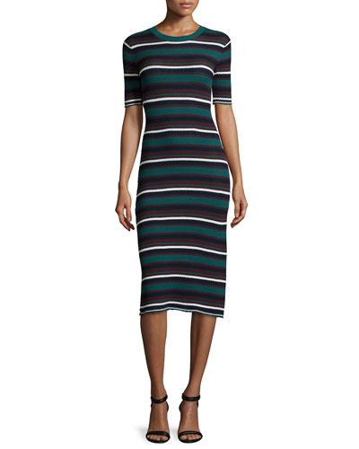 Delissa Textured Stripe Knit Sheath Dress