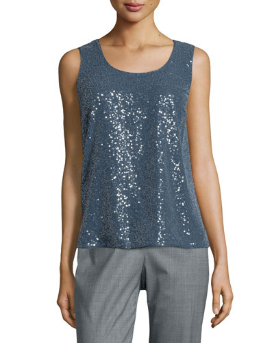 Cleo Sleeveless Sequined-Front Blouse, Women