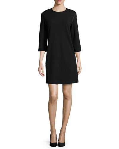3/4-Sleeve Jewel-Neck Shift Dress, Women