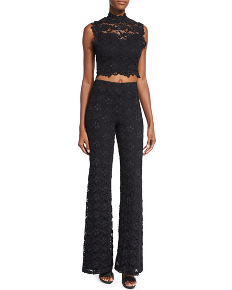 Dixie-Lace High-Waist Trousers, Black