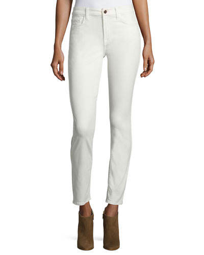 Sateen-Twill Skinny Jeans, Winter White