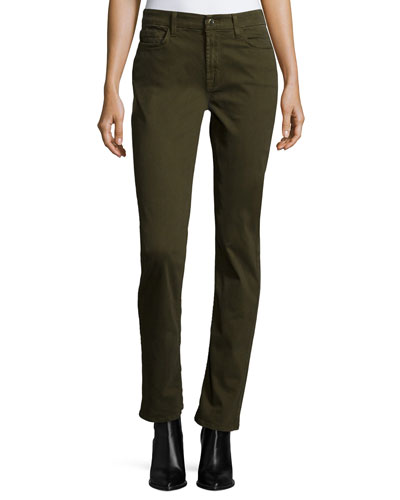 Straight-Leg Sateen Jeans, Olive