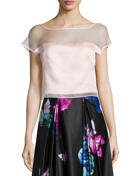 Milly Short-Sleeve Silk Organza Top