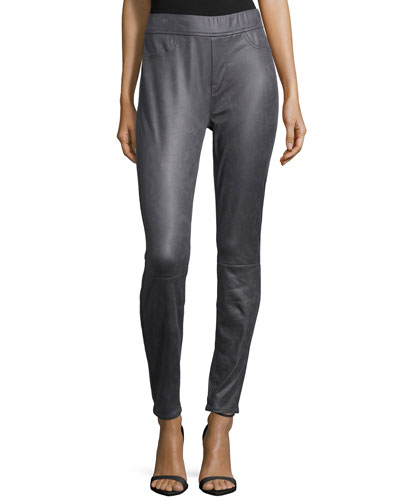 Leather-Like Skinny Ponte Pants