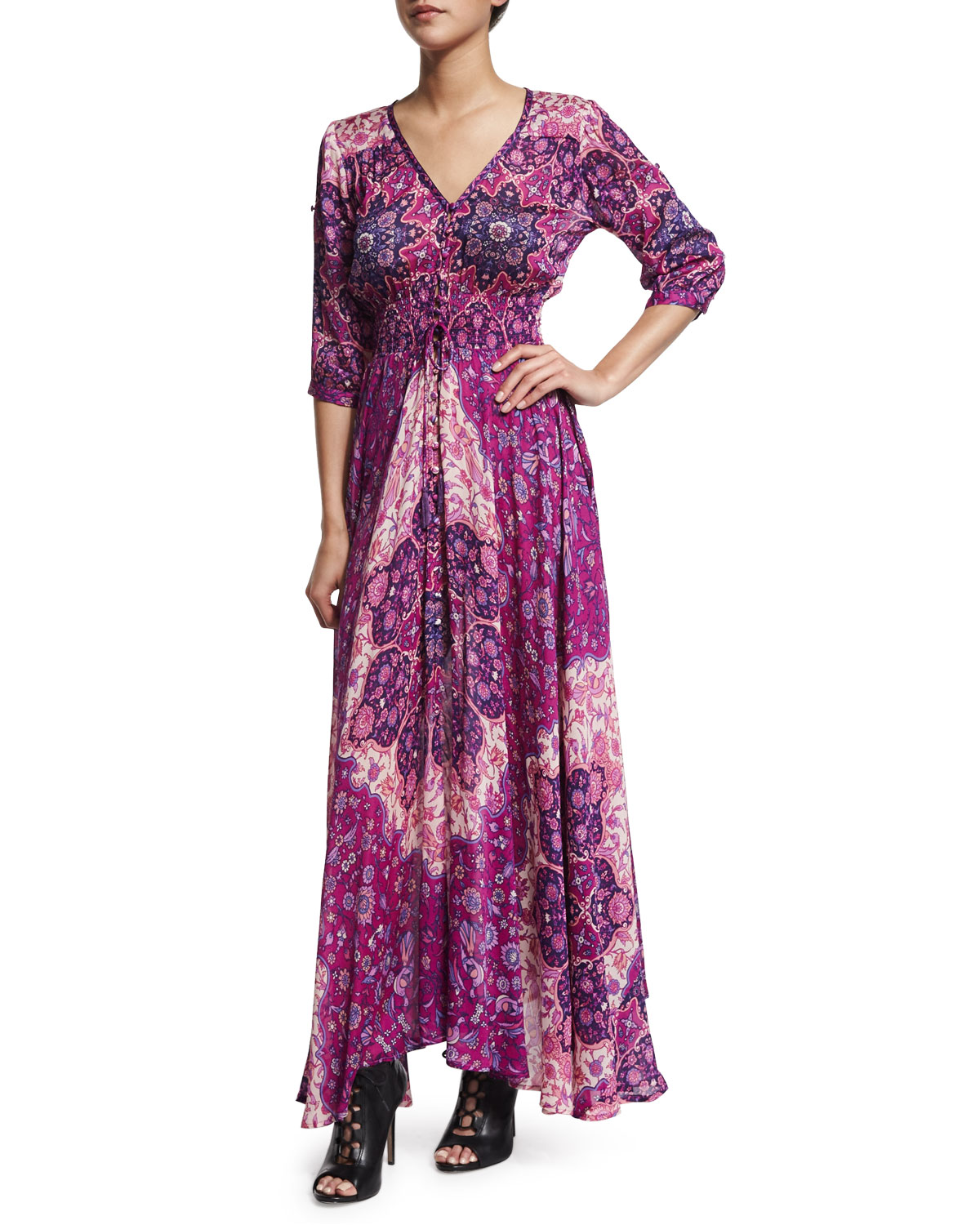 Spell Designs Kiss the Sky Georgette Gown, Violet | Neiman Marcus