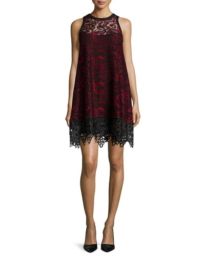 Sleeveless Lace Trapeze Dress
