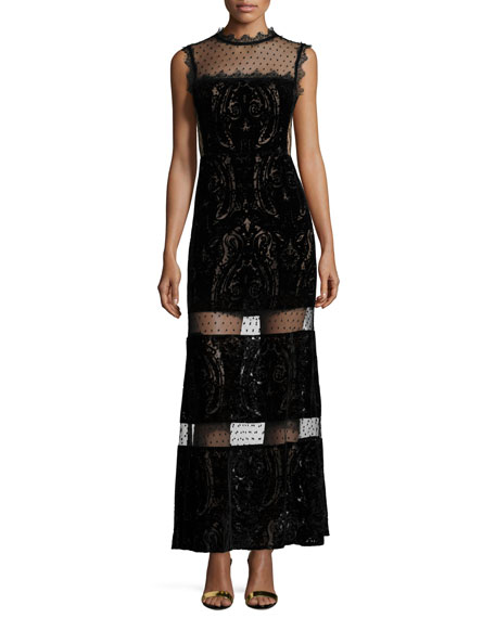 Nanette LeporePaisley Maxi Dress with Sheer Insets
