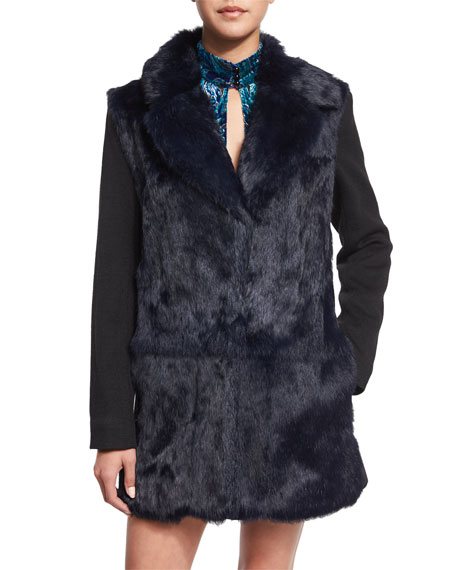 Nanette LeporeLong-Sleeve Fur-Front Combo Coat