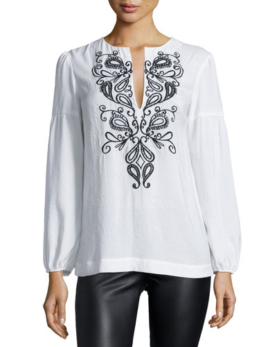 Nanette Lepore Long-Sleeve Embroidered Peasant Blouse