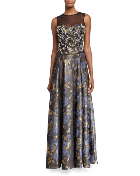 Rickie Freeman for Teri Jon Sleeveless Beaded-Bodice Floral-Skirt