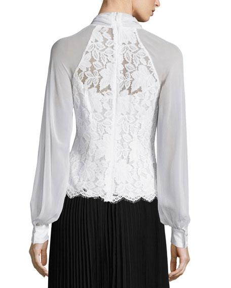 Long-Sleeve Tie-Neck Lace Blouse