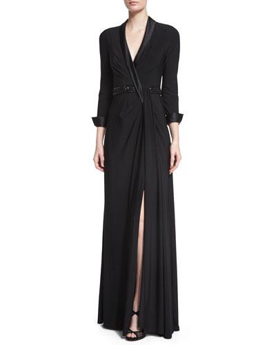 Beaded Waist Jersey Gown