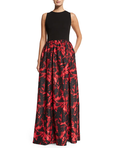 Aidan Mattox Sleeveless Combo Printed Gown, Black/Red