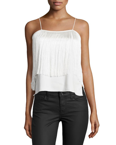 Aimee Sleeveless Fringe Top, White