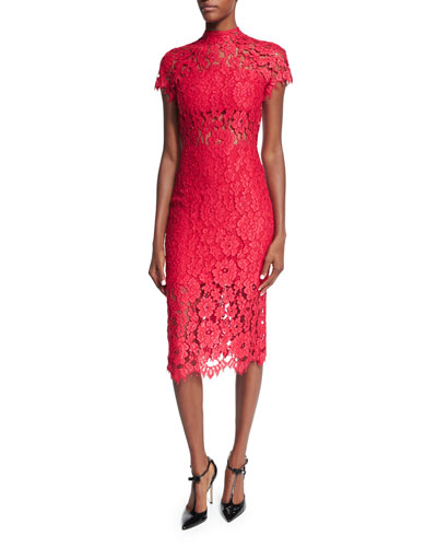 Leona Lace Sheath Dress, Red