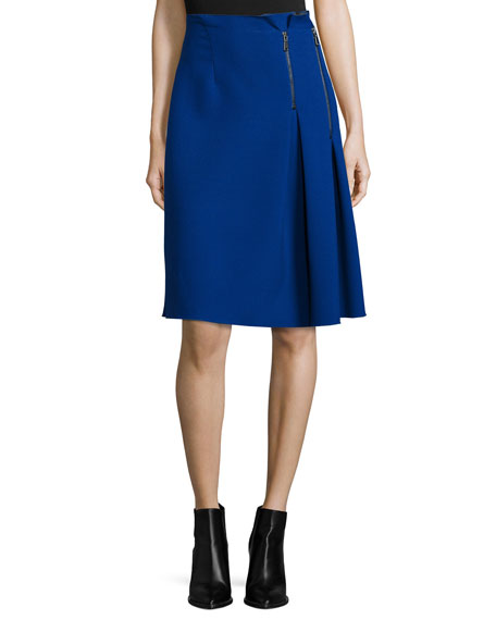 Elie Tahari Mirella Two-Zip Side-Pleated Skirt