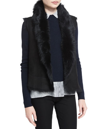 Lucy Shearling Fur Button-Front Vest