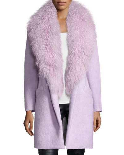 Oversized Collar Fur Coat, Lilac