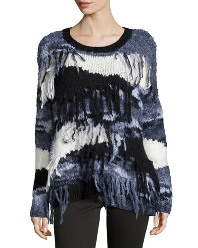 Long-Sleeve Sweater W/Fringe, Black/Gray/White