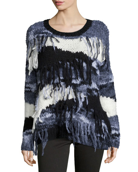 Elizabeth and James Long-Sleeve Sweater W/Fringe, Black/Gray/White