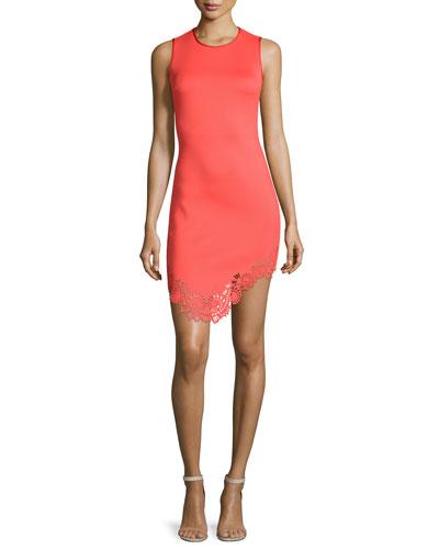 Sleeveless Laser-Cut Sheath Dress, Red