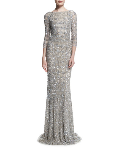 3/4-Sleeve Beaded Column Gown