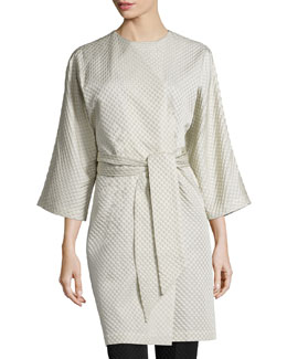 Textured Wrap-Front Coat, Pearl