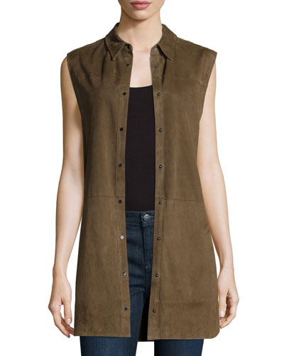 Suede Sleeveless Snap-Down Tunic
