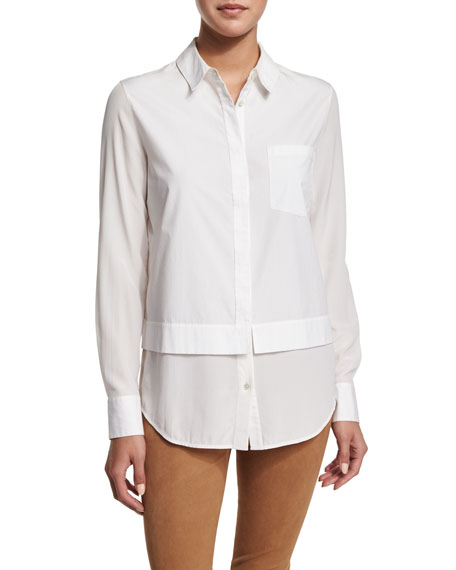 Vince Layered Poplin Button-Down Shirt