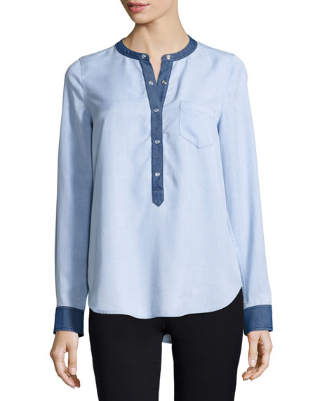 Vince Chambray Colorblock Half-Placket Shirt