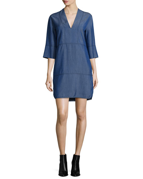 Vince Chambray V-Neck Shift Dress