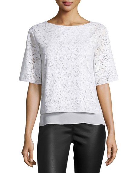 Vince Half-Sleeve Lace Top