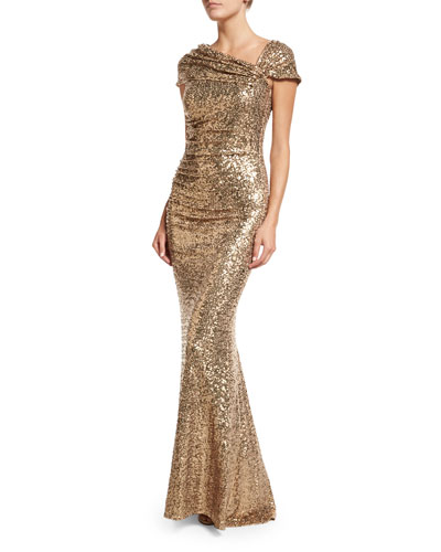Off-the-Shoulder Sequined Gown