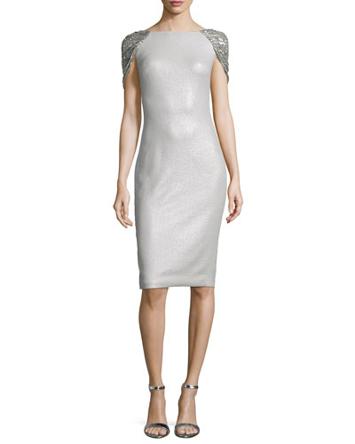 Sequined Cape-Back Cocktail Sheath Dress