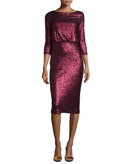 Badgley Mischka 3/4-Sleeve Cowl-Back Sequined Dress