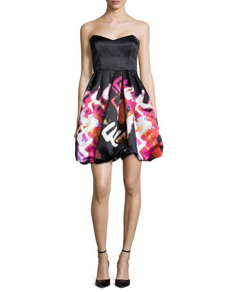 Parker Black Remi Strapless Printed Cocktail Dress