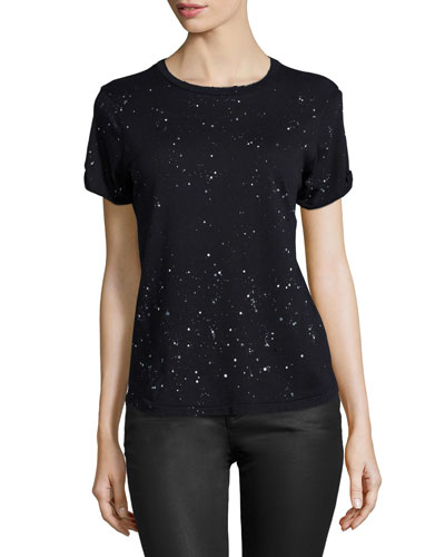 The Rolled-Sleeve Tee, Black Splatter