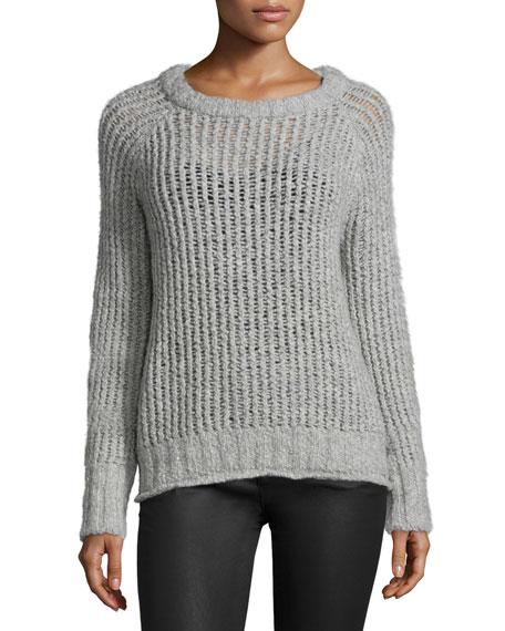 Current/Elliott The Dock Long-Sleeve Sweater, Light Heather Gray