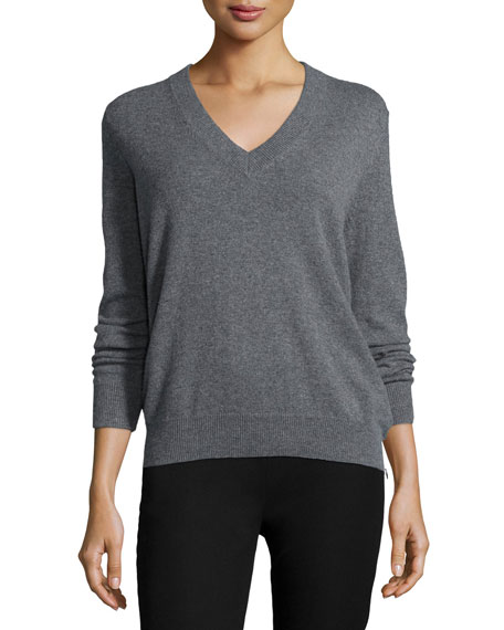 Joseph Cashmere V-Neck Sweater, Gray
