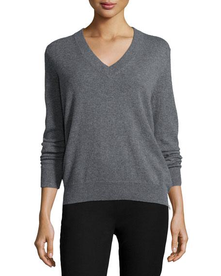 Joseph Cashmere V-Neck Sweater, Gray