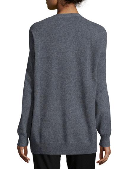 Soft Wool V-Neck Cardigan, Gray