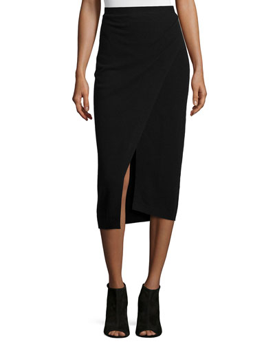 Soft Wool Wrap-Front Skirt, Black