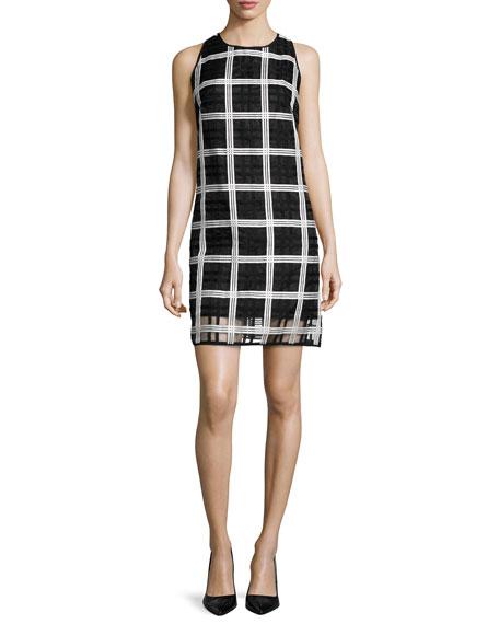 Milly Sleeveless Grid-Pattern Organza Shift Dress