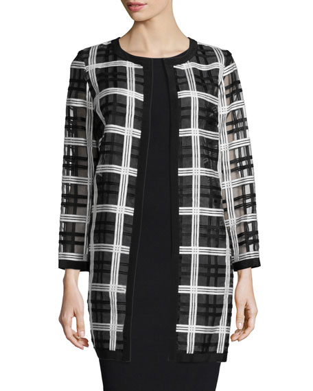 Milly Plaid Organza Cocktail Coat