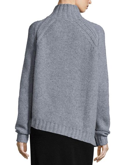 Chunky Wool Sweater W/ Neck Zipper