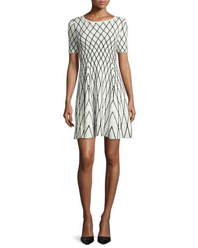 Short-Sleeve Geometric Jacquard Dress