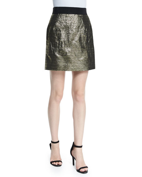 MillyMetallic Jacquard Back-Zip Miniskirt