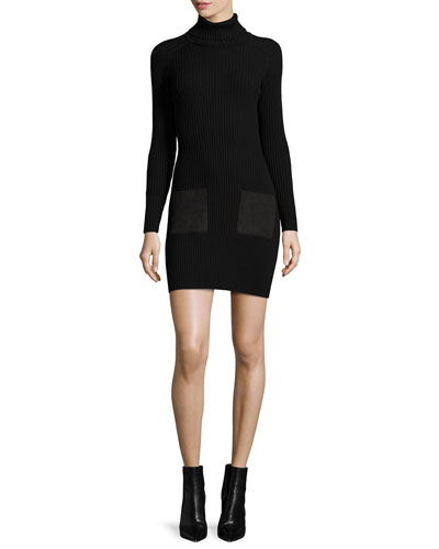 Ribbed Turtleneck Dress W/ Suede-Pockets