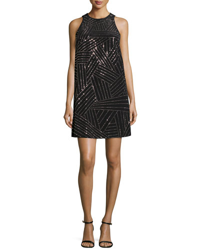 Beaded Silk A-line Dress