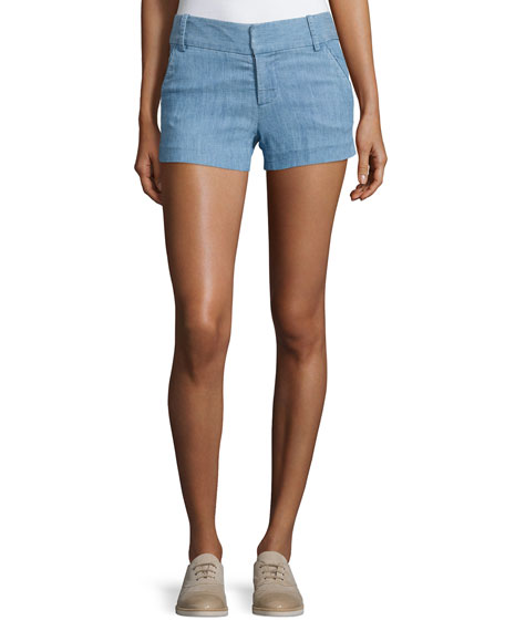 Alice + Olivia Cady Chambray Shorts, Blue